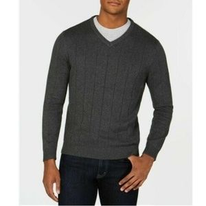 Club Room Men's Ribbed V-Neck Sweater Charcoal